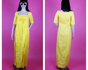 Vintage AS IS 1970s Yellow Maxi Rose Dress