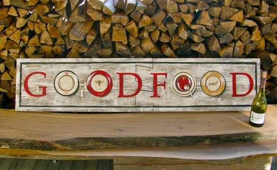 Food sign on reclaimed rustic solid wood board