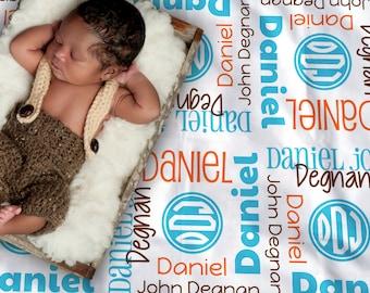 Baby Blanket with Name & Monogram - Boys' Personalized Receiving Blanket - Custom Baby Name Blanket - Newborn Swaddling Blanket - Photo Prop