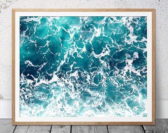 Turquoise Ocean Print, Waves, Art Print, Ocean, Digital Download, Sea Photography, Ocean Print, Prints, Coastal Print, Water, Beach Print