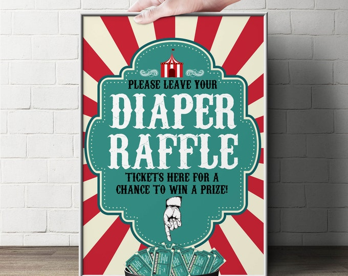 """Diaper Raffle Sign """"Vintage circus"""" (Printable File Only)  Bring Diapers for Mom Raffle, baby shower, baby shower games, baby shower sign"""