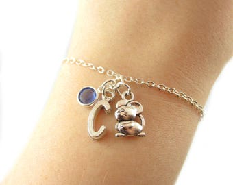 Mouse Bracelet- choose a birthstone and initial, Mouse Jewelry, Mouse Charm, Mouse Gift, Pet Mouse, Personalized Mouse, Mouse Charm Bracelet