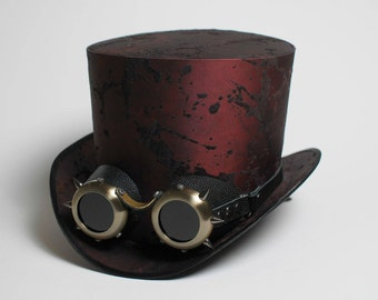 Set of Steam Punk Top Hat with Goggles Wedding Costume Tophat Victorian Mens Womens Steampunk Cosplay Personalized Mad Hatter Custom Top Hat