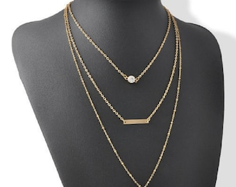 3 layer chain necklace, layered necklace, gold layer necklace, dainty layered necklace