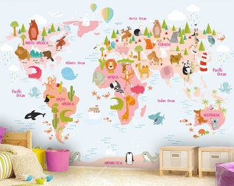Animal wallpaper etsy world map wall mural in pink and light blue children map with animals wallpaper gumiabroncs Image collections