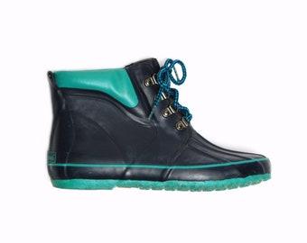 rare 80s vintage LL Bean teal blue ankle rain boots retro fashion shoes sz 8