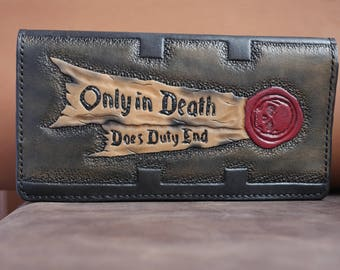 Handmade long wallet natural leather stylished by Warhammer 40k - Inquisition