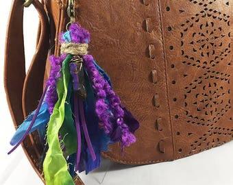 Boho Tassel Keychain, Wire Wrapped Crystal Charm, Hippie Chic Keychain, Gypsy Soul, Hippie Gift, Boho Purse Tassel, Boho Bag Charm,Boho Gift