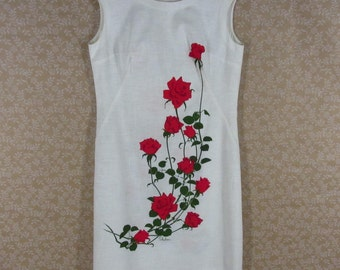 Alfred Shaheen Floral Shift Dress Off White Red Rose Print Sleeveless