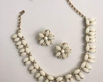Rare Vintage Charel Necklace and Earrings Costume Jewelry Set -  Geometric Design w/ White Plastic Stones - Matching Floral Earrings  1940s