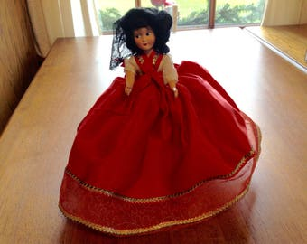 "Vintage 50's Musical Revolving Doll, Rotating Doll, Vintage Spanish Doll, Music Box Doll, Turning Doll, Vintage 7"" Doll"