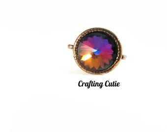 Bronze Swarovski Rivoli Purple Ring