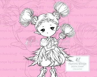 PNG Thistle Sprite - Aurora Wings Digital Stamp - Cute Flower Fairy - Fantasy Line Art for Arts and Crafts by Mitzi Sato-Wiuff