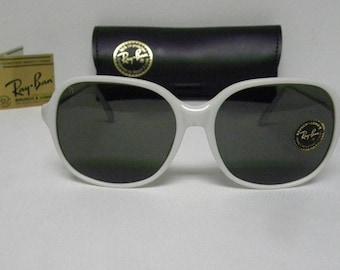 New Vintage B&L Ray Ban WO 343 White Big Round Traditionals G-15 Sunglasses USA WO343