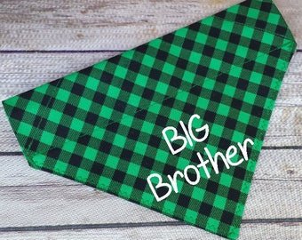 Big Brother Dog Scarf / Green Plaid Cat Bandana / Pregnancy Announcement / Over the Collar / Big Bro Cat Bandana / Photo Op Dog / Baby