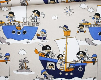 Pirates, ships fabric, 100% cotton 50 x 160 cm, motif pirates on a beige background