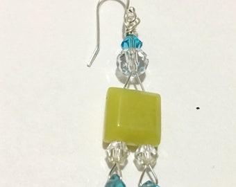 Blue Green Semi precious gemstone earrings