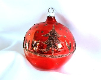 Vintage Christmas Ornament, Red with Black Mica Glitter Ornament from West Germany