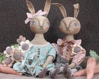 BZ308 - The Hunny Bunnies PDF Cloth Animal Doll Pattern