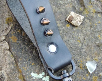 Handmade Leather Key Fob with Studs