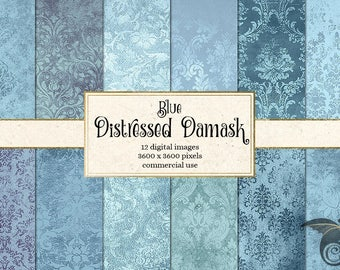 Blue Distressed Damask Digital Paper, rustic vintage textured scrapbook paper, scrapbooking grunge textures, sky baby blue instant download