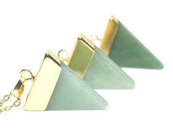 Aventurine Necklace, Triangle Necklace, Gemstone Necklace, Geometric Necklace, Aventurine Jewellery, Green Necklace, Birthday Gift