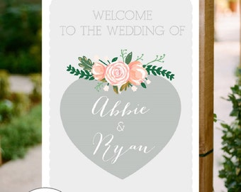 Personalised Printable Floral Welcome Wedding Sign, PDF