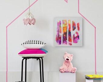 Nursery art Kids room painting Girl's room art decor Small pink red painting Nursery painting Kids room decor Small abstract painting