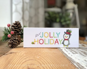 "Sale! It's a Jolly Holiday mini block (7x2.5"") collaboration with @thewatercolorie"