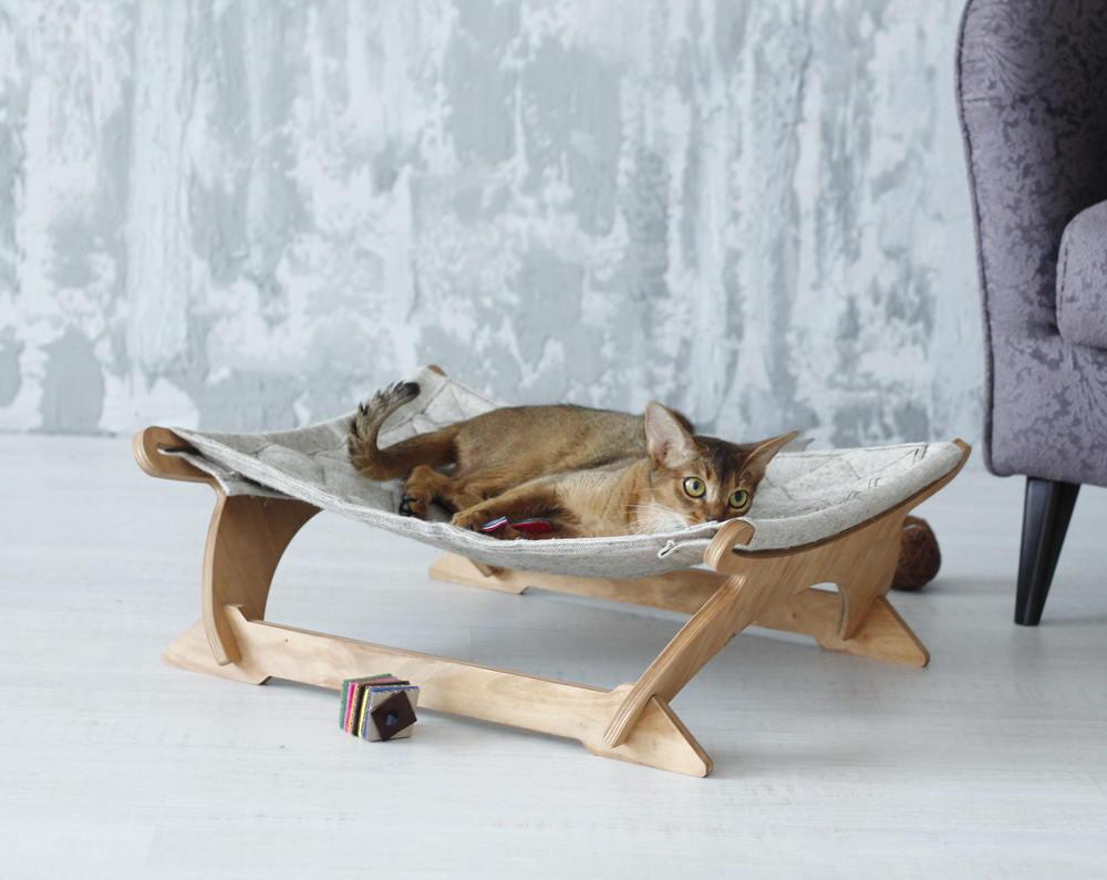 Hamac chat-chat ergonomique lit Canvas. Chat de meubles lit