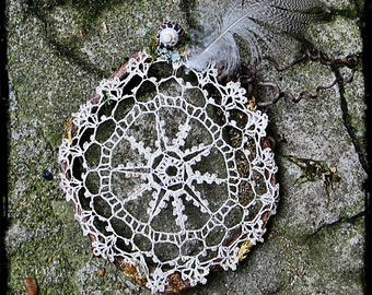 Faery Dream Catcher, dream catcher, natural material decor, French crochet, lace, French vintage, crochet doily, fairy, fairytale decor
