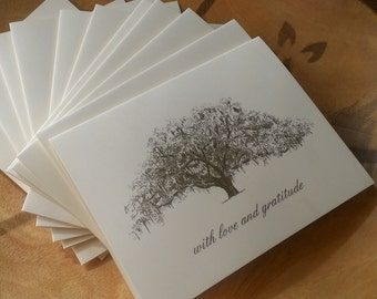 Personalized Wedding Oak Tree Thank You Cards - set of 25