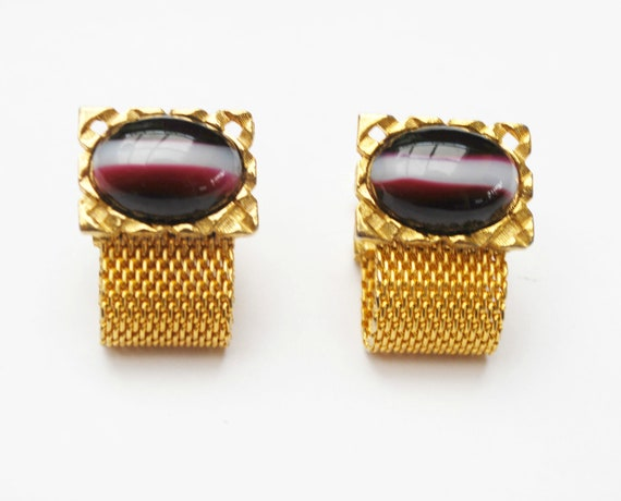 Glass Cuff link  Signed Dante Gold metal mesh wrap  dark maroon white black striped cabochon  cuff links