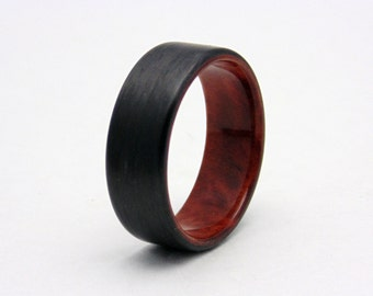 Santos Rosewood and Carbon Fiber ring Handmade wood ring