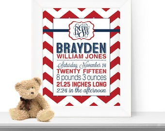 Baby birth print chevron - birth stats nursery art - personalized newborn print - baby announcement wall art - red and navy nursery