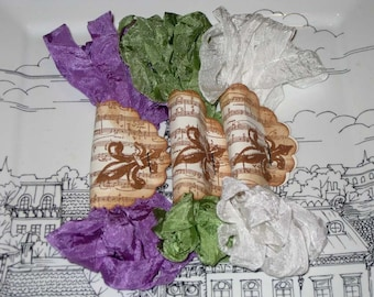 Scrunched Seam Binding ribbon, Crinkled Seam Binding Packaged Vintage French Lilac Fleur  ESC
