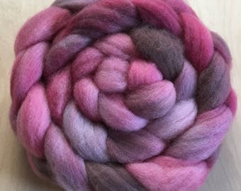 Faded Bloom, 3.1 ounces handpainted Polwarth Top for spinning and felting