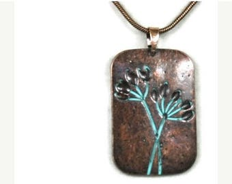 Sale| Patina Flower Pendant Necklace, Stamped Copper Verdigris Patina Floral Pendant, Rustic, Art Deco, Necklace Set, Bohemian Jewelry, Natu