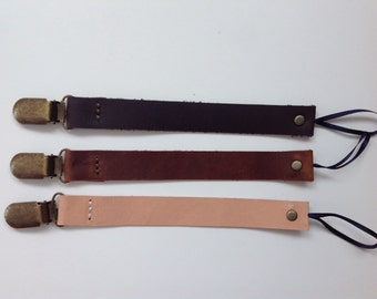 Leather Pacifier Strap/Clip