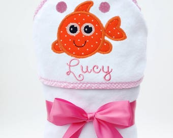 Hooded Bath Towel, Baby Bath Towel, Personalized Baby Towel, Monogrammed Bath Towel, Fish Baby, New Baby Gift, Baby Girl, Toddler Girl Towel