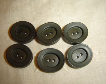 6 buttons oval gray / / 21 X 18 mm