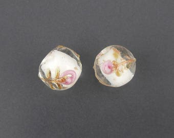 2 x 11mm (10) flower lampwork glass bead