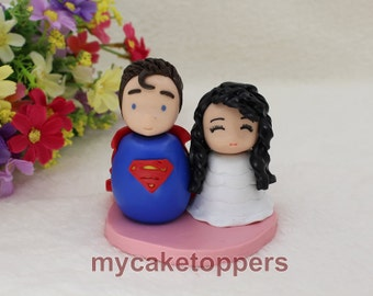 Custom wedding cake topper,  cute cake topper, personalized cake toppers, superman, superhero, cartoon, unique, funny cake topper, cupcake