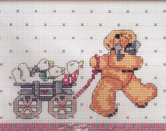 "Bucilla Counted Cross Stitch Kit, Daisy Kingdom Wagon Full Of Friends 7"" X 5""  NEW"