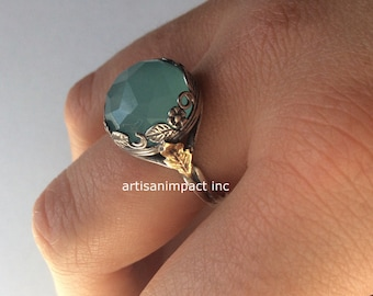 Jade ring, Silver engagement ring, boho ring, gemstone ring, gold silver ring, gypsy ring, gold leaf ring, vine - Magical mystery R2069-1