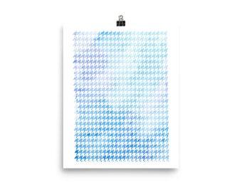 Houndstooth watercolor blue unframed poster print home decor housewarming gift modern art geometry pattern