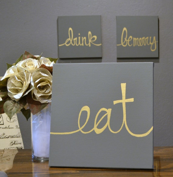 Eat Drink & Be Merry Canvas 3-Pack Wall Art Paintings Value