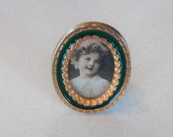 Tiny Miniature Vintage Gold Tone and Green Enamel Oval Picture Frame