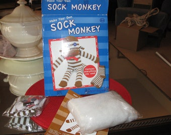 Make Your One Sock Monkey Kit - Complete Kit from Hawkin's Bazaar, Box Open but ALL Interior Packaging Intact/Unopened Age 6+