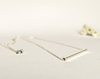 Silver Bar Necklace - Silver Tube Necklace -  Minimalist Necklace - Square Bar Necklace - Layering Necklace